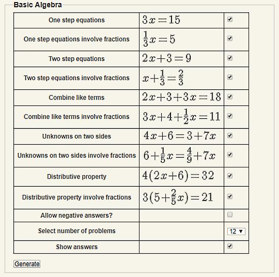 free algebra worksheet generator