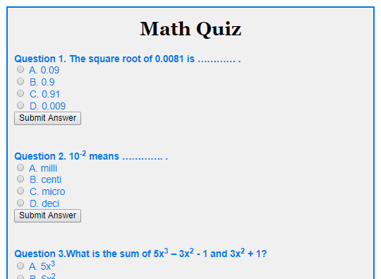 math quizzes for adults
