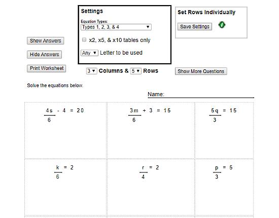 algebra worksheet generator free