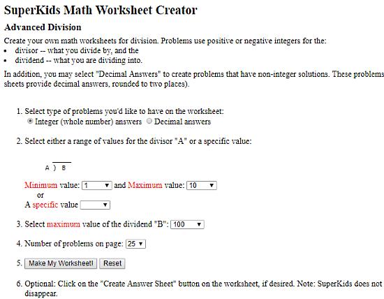 online math worksheet generator free