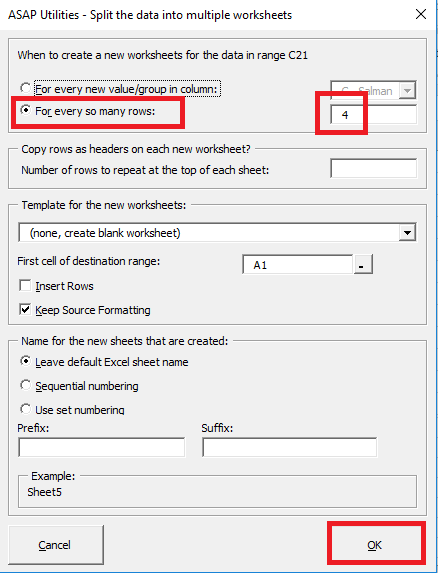 ASAP Utilities specify rows to split