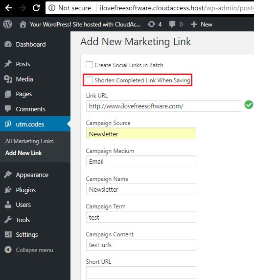 Add new marketing link in utm coded plugin