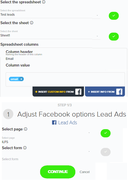 Authorize google facebook parameters