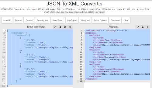 BeautifyTools JSON to XML interface