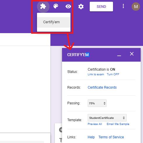 Certify'em interface