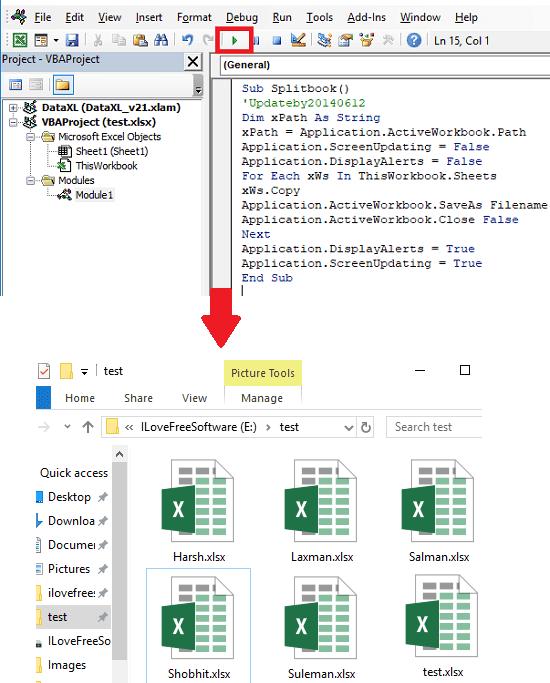 Excel file split into multiple files through vba code