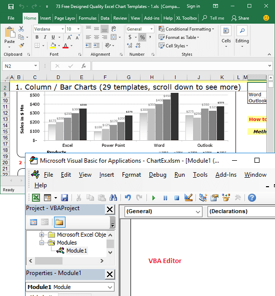 Excel sheet and VBA editor