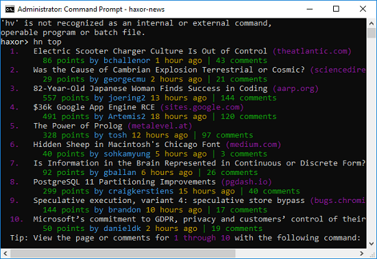 Free Hacker News Command Line Client for Windows