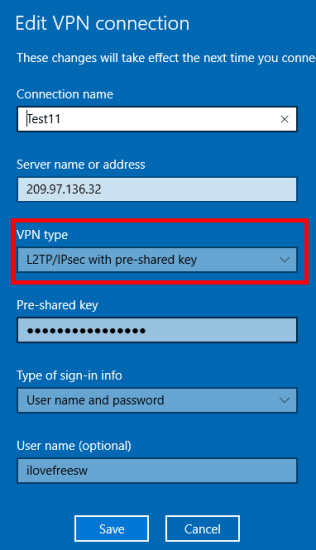 IPSec VPN connect in windows 10