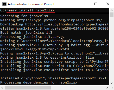 Install json2xlsx in windows