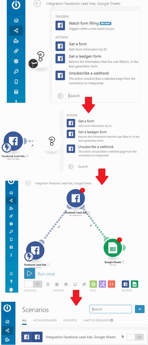 Integromat Facebook Leads Ads to Google Sheet