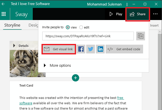 Microsoft Sway share the newsletter