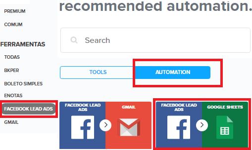 Pluga select automation FB Lead Ads to Google Sheets