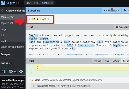 RegExr free regular expression validator website