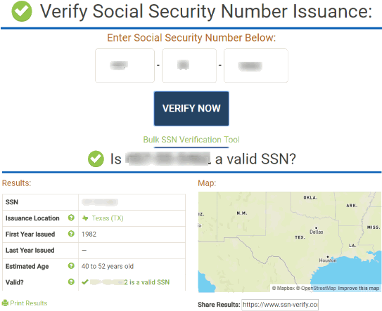 SSN-Verify.com website