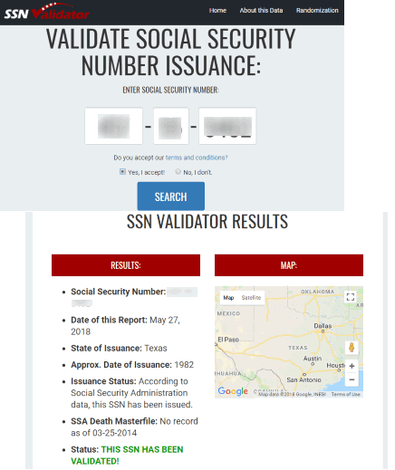 SSNvalidator.com website
