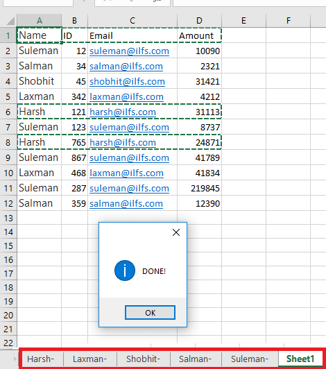 Sheets created after splitting data xl