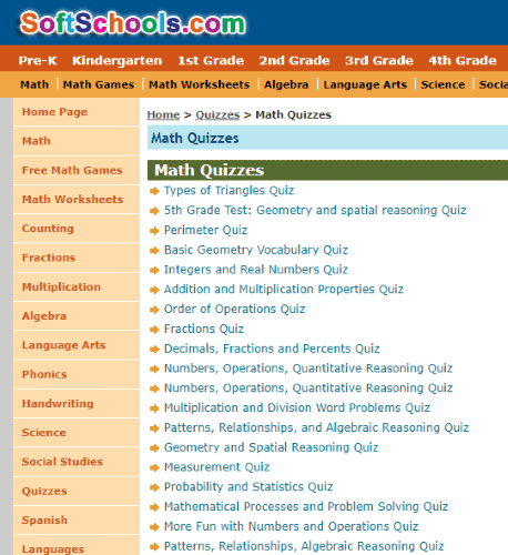 SoftSchools.com Math quizzes