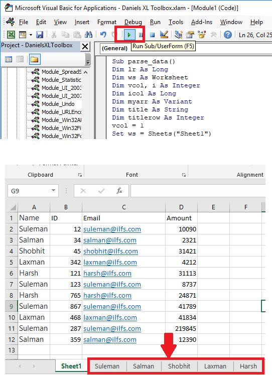 VBA code executes and create multiple sheets