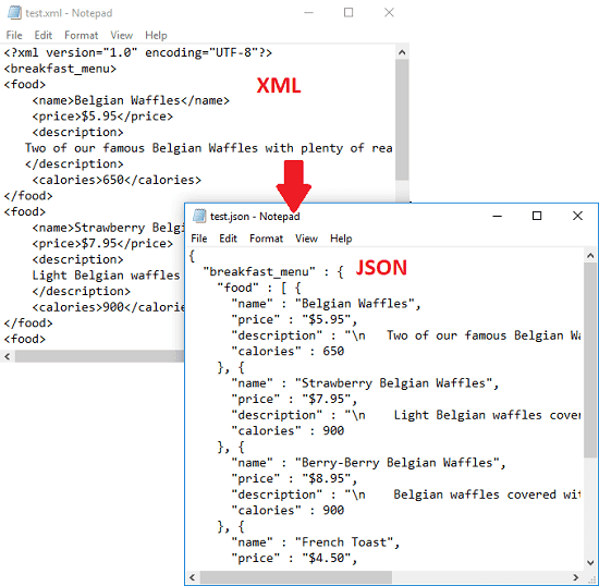 XML to JSON converter Software for Windows