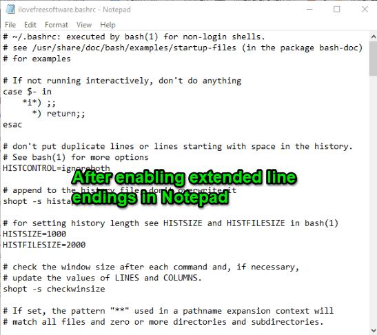 after enabling extended line endings in notepad