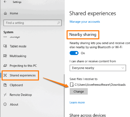 change save location for nearby sharing
