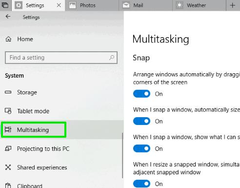 click on multitasking option