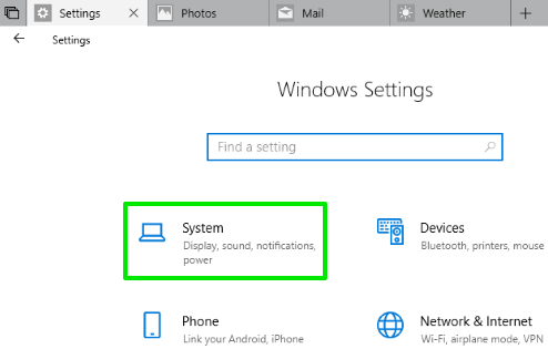click on system menu