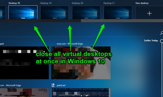 close all virtual desktops at a time in windows 10