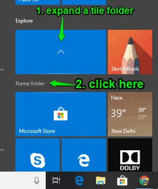 expand a tile folder and click on name folder option