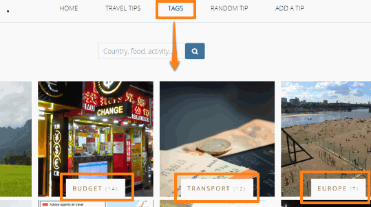 find travel tips by tags