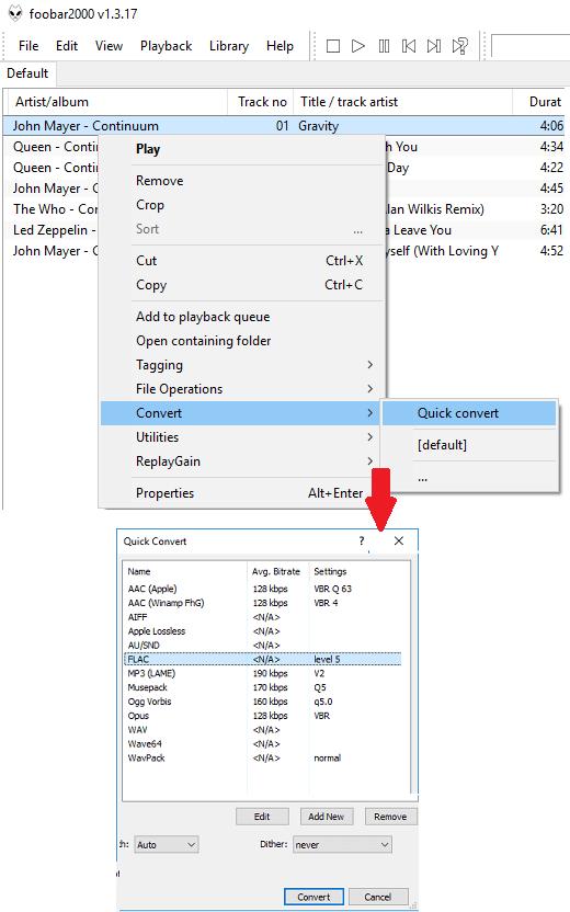 foobar convert option