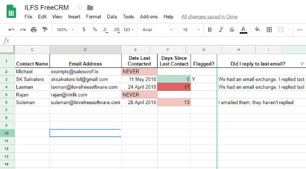 google sheets based crm