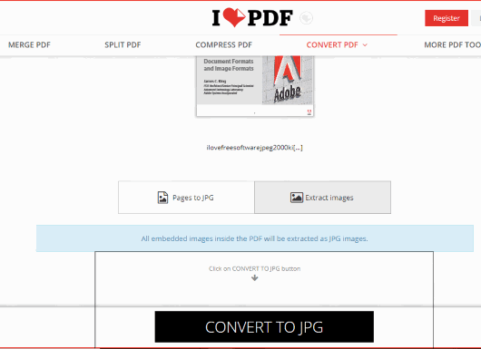 iLovePDF extract images from pdf