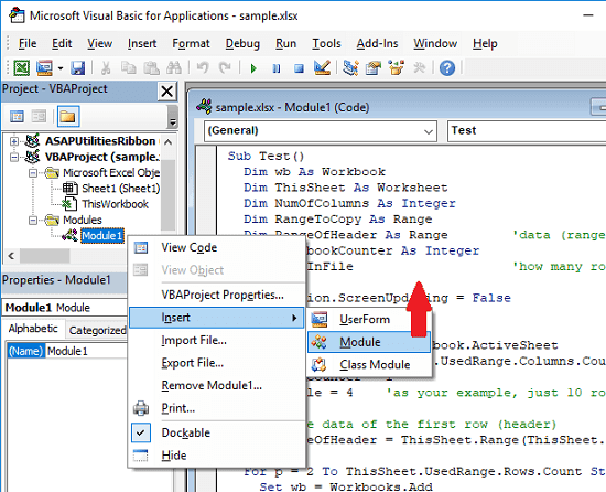 insert module for vba in excel