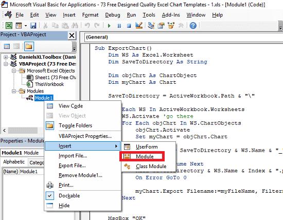 insert module and paste VBA code