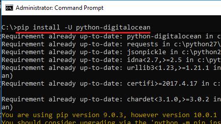 install python-digitalocean