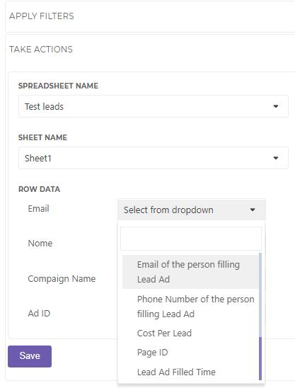 leado sheet and facebook configuratioin