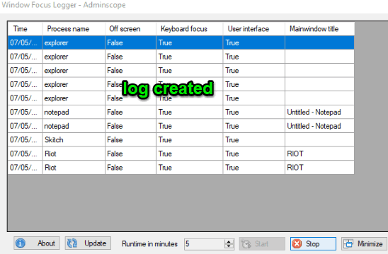 log created