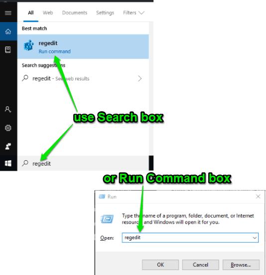 open registry editor using search box or run command