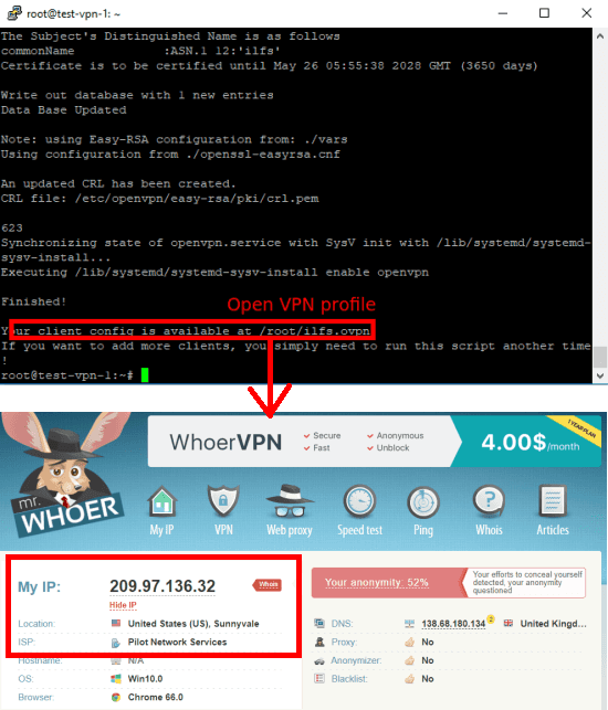 openvpn-install open VPN profile created