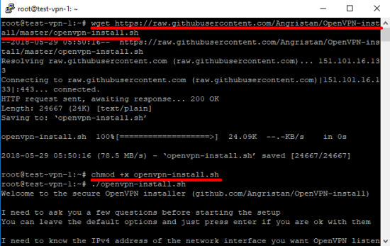 openvpn-install wget command