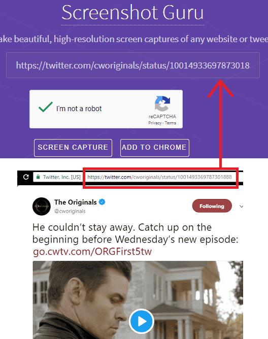 screenshot guru specify URL of the tweet