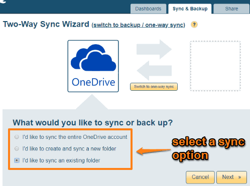 select a sync option