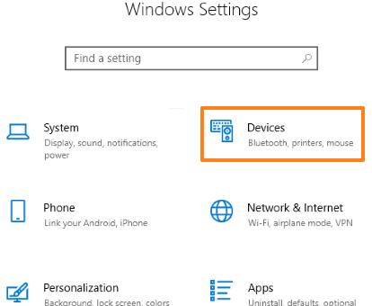 select devices menu