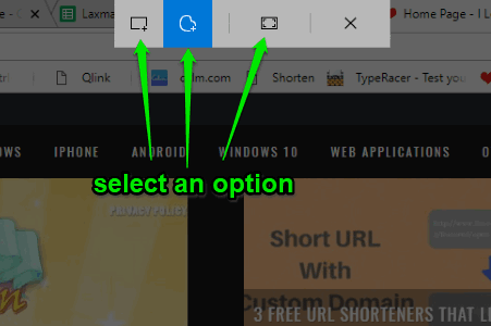 select screenshot option
