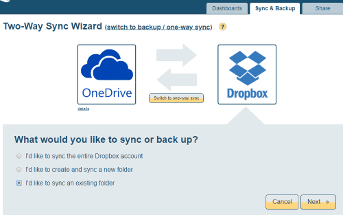 select sync option for dropbox