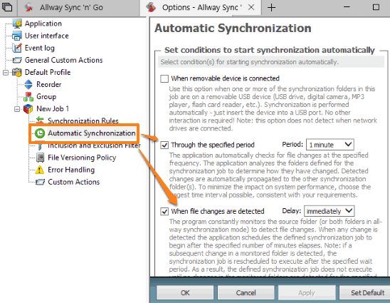 set automatic sync