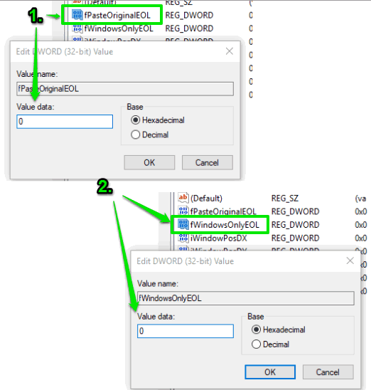 set value data to 0 for both dword values
