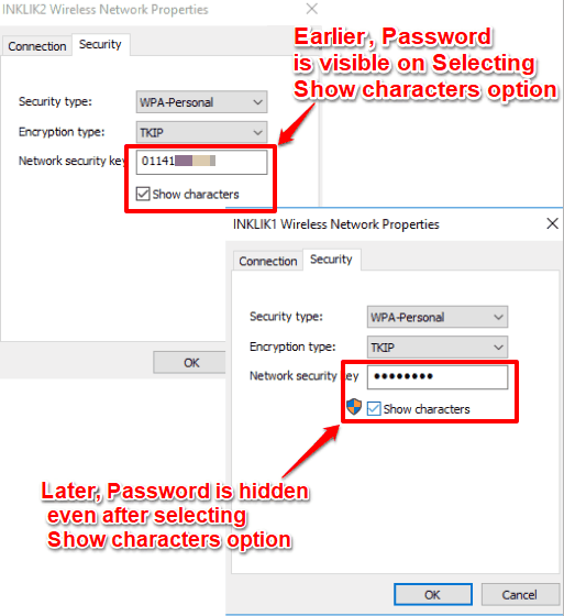 show password option is disabled in wifi network properties in windows 10